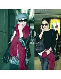 Extra Claret Red Warmth Monochromatic Design Cashmere Fashion Scarves