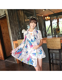 Avalon White Colorful Feather Pattern Chiffon Fashion Scarves