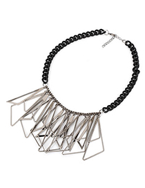 Propper Black Hollow Triangle Shape Tassels Alloy Korean Necklaces