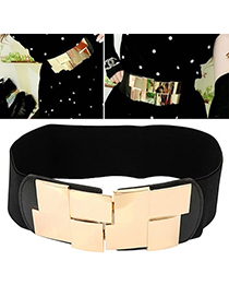 Elegant Black Double Flower Decorated Pure Color Design  Leather Wide belts