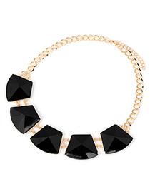 Smart Black Geometry Quadrangle Shape Alloy Korean Necklaces