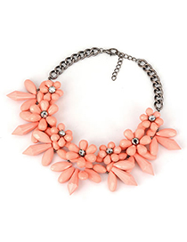Parker Pink Big Flower Cone Shape Alloy Fashion Necklaces