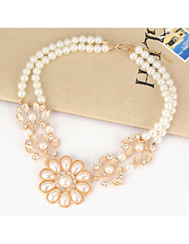 18K White Leave Shape Pearl Flower Alloy Korean Necklaces