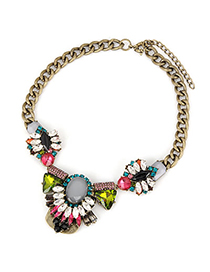 Monogram Multicolor Geometry Crystal Short Style Alloy Korean Necklaces