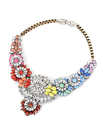 Elegant Blue Crystal Flower Pendant Decorated Simple Design Alloy Bib Necklaces