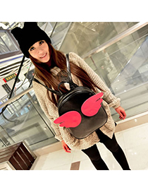 Fashion Plum-red Color-matching Decorated Backpack (3pcs)