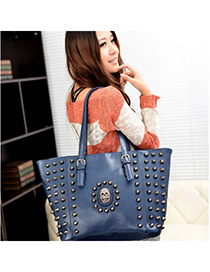 Diaper Blue Rivet Skull Design Pu Messenger bags