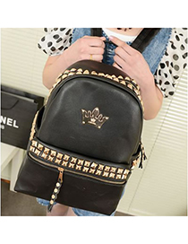 Tie Black Rivet Crown Design Pu Backpack