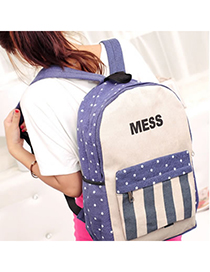 Evil Blue Simple Stripe Design Canvas Backpack