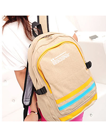 Marathon Khaki Stripe Pattern Design Canvas Backpack