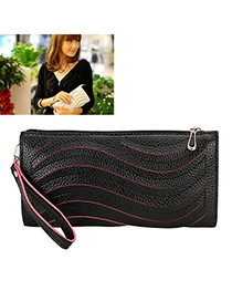 Kids Black Raised Grain Design Pu Fashion Bags