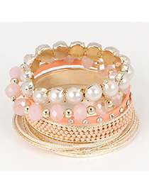 Collapsibl Pink Multilayer Pearl Stretch Design Alloy Fashion Bangles