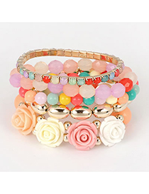 Blank Multicolor Rose And Beads Stretch Design Alloy Fashion Bangles