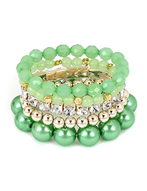 Waist Green Blink Beads Multilayer Alloy Fashion Bangles