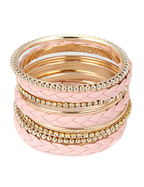 Claddagh Pink Braided Multilayer Pu Alloy Fashion Bangles