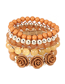 Wide Brown Flower Stretch Multilayer Alloy Fashion Bangles
