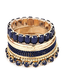 Sparrow Dark Blue Geometry Multilayer Jewel Alloy Fashion Bangles