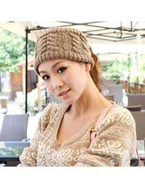 Graduated Gray Big Braided Design Knitting Wool Hair band hair hoop