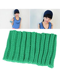Inspiratio Green Small Braided Design Knitting Wool Fashion Hats