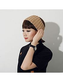 Classic Beige Small Braided Design Knitting Wool Fashion Hats