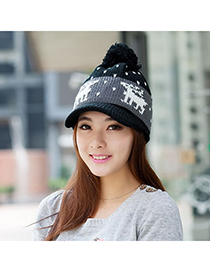 Pregnancy Black Little Deer Pattern Knitting Wool Fashion Hats