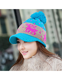 University Blue Little Deer Pattern Knitting Wool Fashion Hats