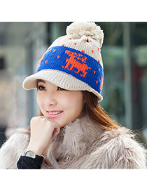 Royal Beige Little Deer Pattern Knitting Wool Fashion Hats