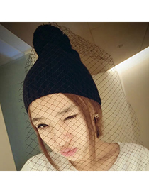 Homecoming Black Elegant Veil Design Knitting Wool Fashion Hats