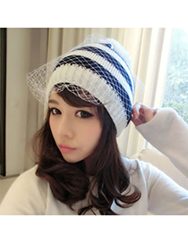 Beaded White Elegant Veil Design Knitting Wool Fashion Hats