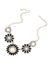 Down Black Sun Flower Acrylic Design Alloy Korean Necklaces