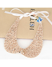 Flirty Gold Color Bowknot Paillette Design Silk Korean Necklaces
