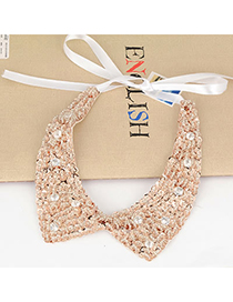 Flamenco Gold Color Beads Paillette Design Silk Korean Necklaces