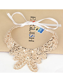Fantasy Gold Color Abstract Butterfly Paillette Silk Korean Necklaces