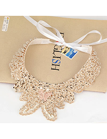 Adjustable Gold Color Butterfly Paillette Design Silk Korean Necklaces