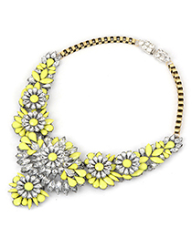 Recycled yellow luxury flower design alloy Fashion Necklaces