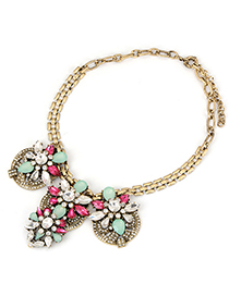 Wholesale plum red vintage flower design alloy Fashion Necklaces