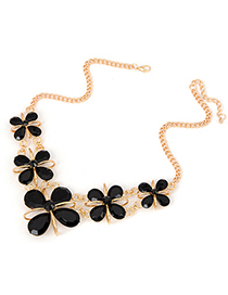 Hipster black Four-leaf clover design alloy Fashion Necklaces