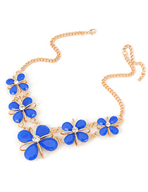Pregnancy blue Four-leaf clover design alloy Fashion Necklaces