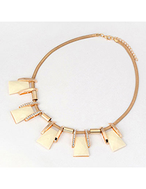 Old Beige Geometry Matching Design Alloy Korean Necklaces