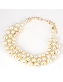 Designer White Pearls Short Style Alloy Bib Necklaces