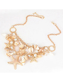 Pewter Gold Color Sea Star Pearl Design Alloy Fashion Necklaces