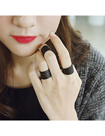 Fashion Black Flower Pattern Decorated Hollow Out Design Alloy Korean Rings