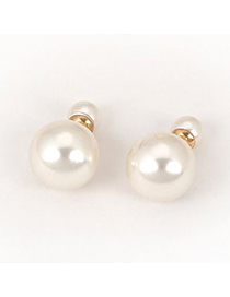 Trendy White Pearls&diamond Decorated Round Shape Earrings