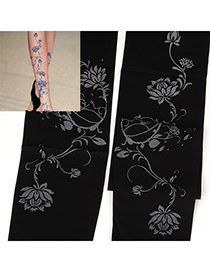 Inspired Black Lotus Pattern Yarn Fashion Stockings