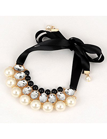 Fashion White Pearls Deocrated Tassel Design Double Layer Long Necklace