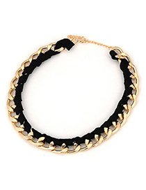 Magnifying Black Beads Decorated Double Layer Design Alloy Chains