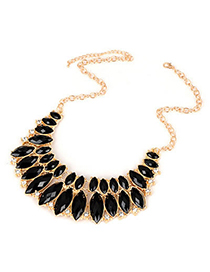 Rachel Black Section Acrylic Design Alloy Korean Necklaces