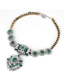 Homemade Green Bright Crystal Design Alloy Korean Necklaces
