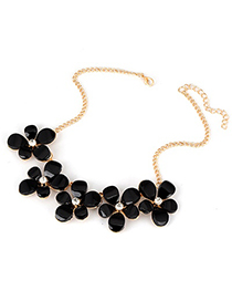 Hydraulic Black Five Leave Flower Alloy Korean Necklaces