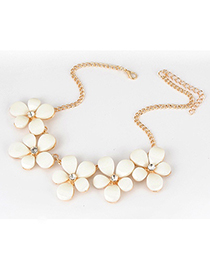Hunting White Five Leave Flower Alloy Korean Necklaces